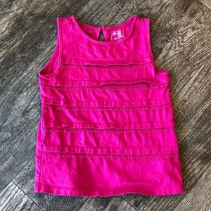 Gap hot pink lace tiered top